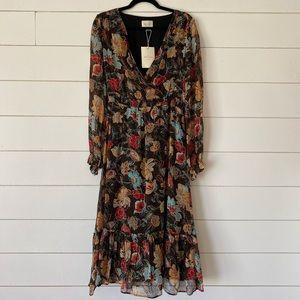 Floral print chiffon long sleeves midi dress